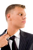 Side pose of businessman feeling hot Royalty Free Stock Photography