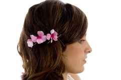 Side pose of female hair Royalty Free Stock Photos