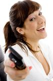 Side pose of happy attorney holding cell phone Royalty Free Stock Photo