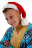Side pose of  man with christmas hat Stock Photography