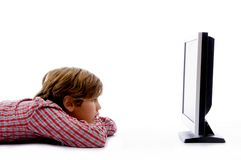 Free Side Pose Of Boy Watching Tv Royalty Free Stock Photo - 7417905