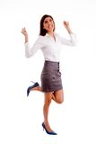 Side pose of pleased businesswoman Royalty Free Stock Photography