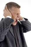 Side pose of shouting businessman Royalty Free Stock Photography