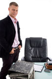 Side pose of standing manager Royalty Free Stock Image
