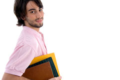 Side pose of student with books Royalty Free Stock Photos