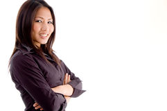 Side pose of woman with folded hands Royalty Free Stock Image