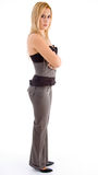 Side pose of woman with folded hands Royalty Free Stock Photos