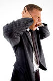 Side pose of yelling businessman Royalty Free Stock Photography