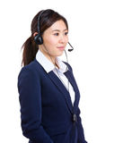 Side profile of customer services operator Royalty Free Stock Image