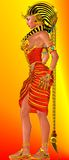Side profile, Egyptian Pharaoh Queen. Egyptian woman Pharaoh Queen standing on abstract orange and red background. Artistic interpretation of Cleopatra or Royalty Free Stock Photography