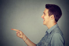 Side profile of a laughing man. Side profile of a laughing young man Stock Photos