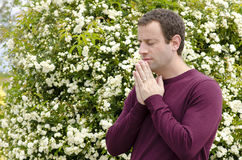 Side profile of man praying in front of a flowering bush. Stock Photography
