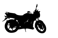 Side Profile of Motorbike Silhouette Stock Images