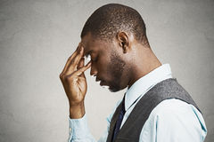 Side Profile Portrait Of A Sad, Depressed Businessman, Young Guy Royalty Free Stock Images
