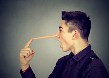 Side profile shocked man with long nose. Liar concept. Royalty Free Stock Image