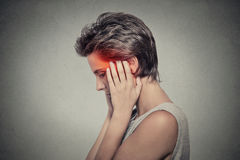 Side profile sick female having ear pain headache. Tinnitus. Stock Photos