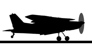 Side profile silhouette of landing X328 Atlas Angel Turbine. Side profile silhouette of landing X328 Atlas Angel Turbine skydiving equipped aircraft Stock Images
