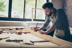 Side profile view photo of hardworking busy professional confide. Nt cabinet maker taking measure of wooden plank with a pencil near other instruments Royalty Free Stock Images