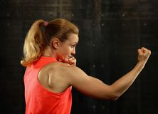 Side profile view of young athletic women boxing. Close up side view profile portrait of one young middle age athletic woman shadow boxing in sportswear in gym royalty free stock images