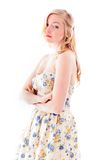 Side profile of a young woman looking sad Royalty Free Stock Images