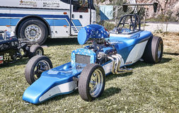 Side of the racing car  car in blue and white Royalty Free Stock Images