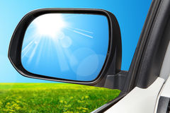 Side rear-view mirror on a modern car Stock Photos