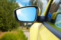 Side rear-view mirror on a modern car Royalty Free Stock Photos