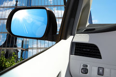 Side rear-view mirror on a modern car Stock Photo
