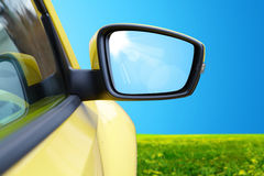 Side rear-view mirror on a modern car Royalty Free Stock Images