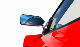 Side rear-view mirror on a sports car Stock Photo