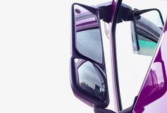 Side rearview mirror of a truck. The concept of a review of driver visibility and safety, copy space
