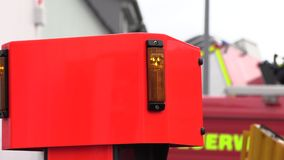 Side of a red fire truck. Side of a fire truck red in germany stock footage