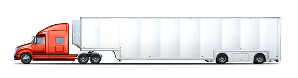 Side rendering of red and white semi-truck stock illustration