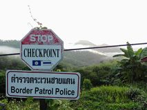Side road sign in the mountain northern thailand royalty free stock photo