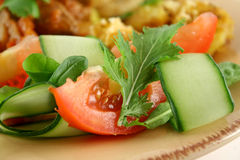 Side Salad. Small side salad of tomato, greens and shaved cucumber Royalty Free Stock Images