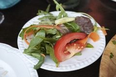 Side salad with tomato. Lettuce and rocket Stock Photos