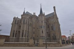 Side Shot Of The Episcopal Palace Of Gaudi In Astorga. Architecture, History, Camino De Santiago, Travel, Street Photography. November 1, 2018. Astorga, Leon royalty free stock images