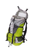 Side shot of green opened touristic backpack Stock Image