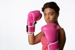 Side Shot Of Woman Fighting Against Breast Cancer Stock Images