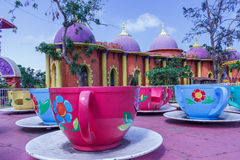 Side show of cup and saucer funfair ride, Chennai, India. Jan 29 2017 Royalty Free Stock Photos