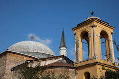Side-by-side church and mosque Stock Photography