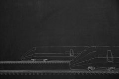 Side by side race from two trains illustrated with chalk  Royalty Free Stock Images