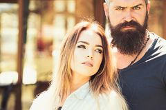 Always side by side. woman and bearded man in love relations. Couple in love of pretty woman and brutal man. Sexi. Always side by side. women and bearded men in stock photography