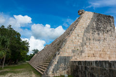 Side Stairway, Mayan Ball Game Field. at chichen Itza, Traveling Stock Photo