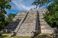 Side Stairway, Mayan Ruins. at chichen Itza, Traveling Riviera M Royalty Free Stock Images