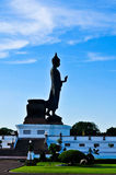 Side of the standing buddha image on beautiful blue sky. Side of the standing buddha image in shadow Stock Images