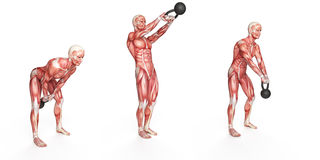 Side step swing. Kettlebell exercise - side step swing Royalty Free Stock Photo