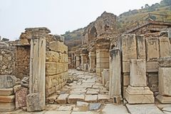 A Side Street in the Ancient City of Ephesus, Turkey stock photography
