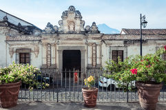 Side street Facade of the Museum of Colonial Arts in Antigua stock photography