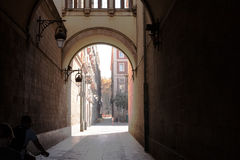 A side street in the Gothic Quarter, Barcelona Stock Photos